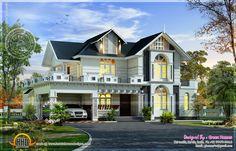 2857 square feet 4 bedroom elegant villa design by Green Homes, Thiruvalla, Kerala Indian Home Design, Kerala House Design, Classic House Design, Simple House Design, Modern House Design, House Balcony Design, Duplex House Design, Villa Design, Style At Home