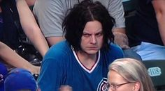 Did someone force Jack White to go to a Chicago Cubs game? The White Stripes singer was spotted in the stands at Wrigley Field earlier this week and he doesn't look too happy about it. Jack White, Seven Nation Army, Cubs Games, Baseball Games, Funny Baseball, Basketball Memes, Basketball Floor, Baseball Stuff, Cubs Fan
