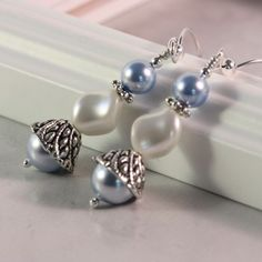 Blue Pearl Earrings Spring Fashion Bridal by AbacusBeadCreations, $24.00