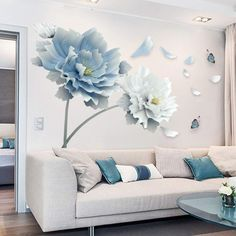 OIENS 23X35In 3D Large White Blue Flower Lotus Butterfly Removable Wall Stickers Wall Art Decals Mural Art For Living Room Bedroom Home Decor - Walmart.com