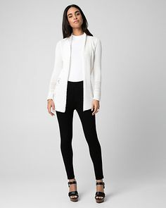 Open-Stitch Open-Front Cardigan - A stylish open-stitch cardigan will bring a textural appeal to your look.