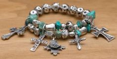M&F Products® Turquoise & Silver Cross Charm Bracelet | Cavender's