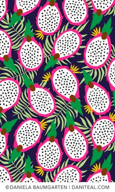 Pitaya, Dragonfruit, Navy, Pattern Design - - Add a pop of pattern with unique fabric, wallpaper & gift wrap. Shop over designs. Textile Pattern Design, Surface Pattern Design, Textile Patterns, Pattern Art, Print Patterns, Floral Patterns, Graphic Design Pattern, Fun Patterns, Pattern Designs