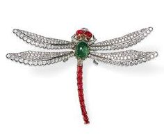Cartier dragonfly brooch, set with cabochon emerald and ruby. #Animals#