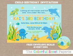 Under the Sea Birthday Party Invitation Printable Boy or Girl Sea