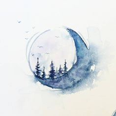 The moon I posted a few days ago was not the only one I painted in my journal…… Der Mond, den ich vor ein paar Tagen gepostet habe, war nicht der einzige, den ich in mein Tagebuch gemalt habe …… Moon Painting, Painting & Drawing, Watercolor Paintings, Painting Inspiration, Art Inspo, Geometric Tatto, Watercolor Moon, Moon Tattoo Designs, Moon Art