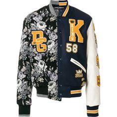 Dolce & Gabbana contrast patch bomber jacket (€2.750) via Polyvore featuring men's fashion, men's clothing, men's outerwear, men's jackets, black, men's stand up collar jacket, mens floral jacket, men's stand collar jacket, mens patch jacket und mens floral bomber jacket