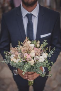 A very cute wedding bouquet made with blush pink roses, astilbe, wax and eucalyptus foliage. For your summer wedding. Summer Wedding, Dream Wedding, Eucalyptus Bouquet, Astilbe, Pink Roses, Wedding Bouquets, Blush Pink, Greece, Destination Wedding