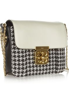 Chloé|Elsie leather and houndstooth tweed shoulder bag|NET-A-PORTER.COM