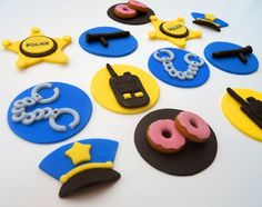 12 POLICE cupcake toppers by SWEETandEDIBLE on Etsy, $20.00