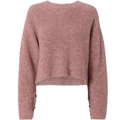 Rag & Bone Jubilee Lurex Cropped Sweater (€250) ❤ liked on Polyvore featuring tops, sweaters, pull, pink, rag bone sweater, metallic top, pink top, metallic crop top and cut-out crop tops