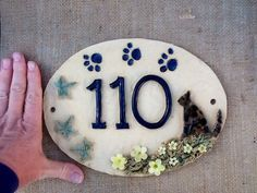 House number sign, ceramic house plaque, housewarming or gift for cat lover, x 7 inches. Tile House Numbers, Door Numbers, Door Number Plaques, House Number Plaque, Clay Houses, Ceramic Houses, Cat Lover Gifts, Cat Gifts, Cat Lovers
