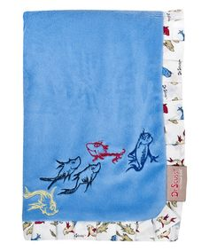 Loving this 30'' x 40'' Blue One Fish Two Fish Ruffle Receiving Blanket on #zulily! #zulilyfinds