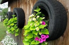 Got some old tires on hand? Here have some garden ideas share with you. You can easy build a tire garden! Keep it simple with a small stack, or get creative using paint. Or plant some vegetables, or DIY some garden decorations…. Tire Garden, Garden Planters, Garden Art, Garden Design, Home And Garden, Wall Planters, Old Tire Planters, Fence Hanging Planters, Landscape Design