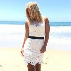 Black Tie Crochet Dress In Cream