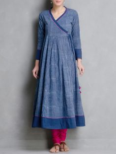 Buy Indigo Hand Block Printed Kalidar Angrakha by Aavaran Cotton Apparel Tunics & Kurtas… - Kurti Neck Designs, Salwar Designs, Blouse Designs, Kurta Patterns, Dress Patterns, Indian Dresses, Indian Outfits, Ethnic Fashion, Indian Fashion