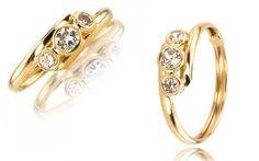 """Zlatý dámsky prsteň v motíve """"eyes"""" oči 14 K žlté zlato so zirkónmi"""