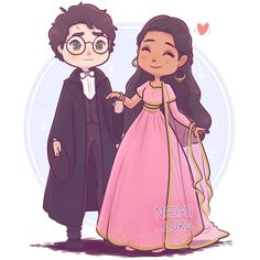 ✨❄️ Harry and Parvati! ❄️✨ To go with the little Yule Ball series I'm working on! What couple would ya like to see next? Harry Potter Cartoon, Harry Potter Stickers, Harry Potter Artwork, Harry Potter Magic, Harry Potter Drawings, Harry James Potter, Harry Potter Wallpaper, Harry Potter Universal, Harry Potter Fandom
