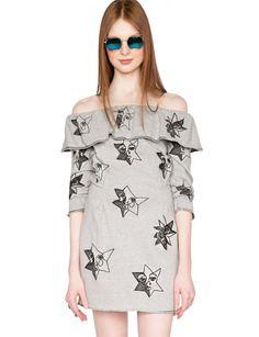 Pixie Market Ruffle Off The Shoulder Dresses - Grey Dress -$56 #pixiemarket.com