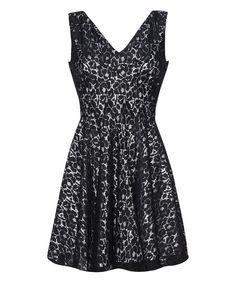 Iska London Black & Gold Lace A-Line Dress   zulily