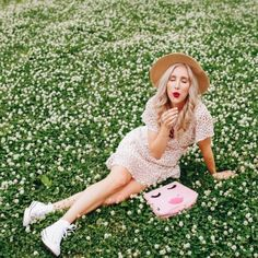 blush & camo, style change, polka dot dress, converse shoes, boater hat, red lip, summer dress, casual summer dress, polka dots, ASTR dress