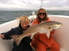 Casey Pyatte and first time angler Fishing out of Holden Beach, NC with a bull drum caught off Oak Island, NC