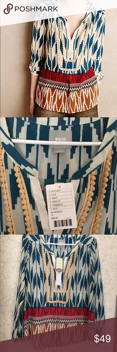 NWT anthropologie Maeve tribal print blouse NWT Maeve shirt from anthropologie. NWT! Beautiful trendy top. Super versatile. Sold out in stores. Anthropologie Tops Blouses