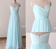 Prom Dresses,Evening Dress,Party Dresses,Baby Blue Chiffon Sweetheart Spaghetti