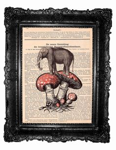 Elephant and the fly agaric- HAND Painted- ORIGINAL ARTWORK Mixed Media  on  antique magazine on Etsy, $10.00