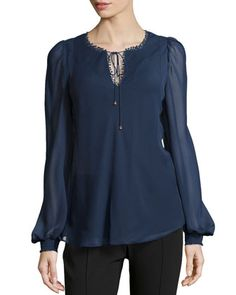Crochet-Dotted Tie-Front Blouse, Navy by Marchesa Voyage