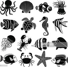 Vector Preto E Branco Vector Art: Sea Animal Icons Sea Creatures Drawing, Creature Drawings, Ocean Creatures, Illustration, Stencil Art, Fish Art, Beach Art, Silhouette Design, Vector Art