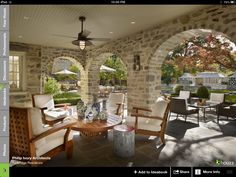 Interesting outdoor space and furniture grouping