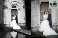 The bride & groom take a break over the pond at the beautiful stone monument. Weddings at The Village at Lyons, photographed by Couple Photography. www.couple.ie