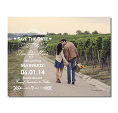 Vintage Save The Date with Photo Magnet. Perfect for Rustic, Country Weddings! Find this on Etsy.com/Shop/TreasuredMomentsCard
