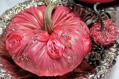 How do you decorate for Fall? Make pumpkins from vintage silk beaded evening gowns for an elegant touch.