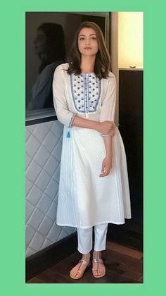 Kajal Aggarwal Brown Hair Colors, White Dress, Dresses, Fashion, Chestnut Hair Colors, Vestidos, Moda, Fashion Styles, Dress