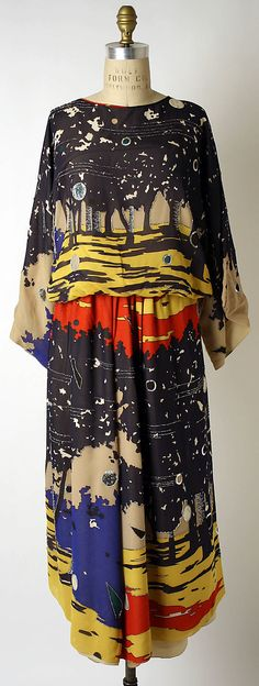 Textile by Liberty & Co. (British, founded London, 1875), Evening ensemble Chloé(French, founded 1952)  Designer: Karl Lagerfeld, 1966. Silk, sequins, plastic beads.