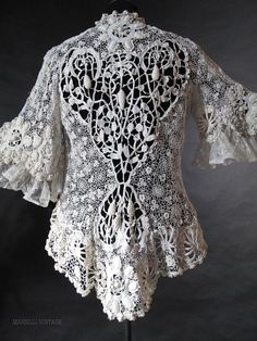 Exceptional Antique Irish Crochet Jacket  marzillivintage on Ruby Lane Ruby Lane, Crochet Irlandés, Crochet Patterns, Irish Crochet, Crochet Jacket, Crochet Blouse, Lace Jacket, Antique Lace, Vintage Lace