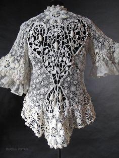Exceptional Antique Irish Crochet Jacket  marzillivintage on Ruby Lane