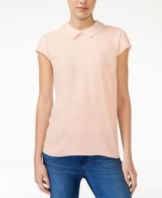 Maison Jules Embellished Collar Top, Only at Macy's - Tan/Beige XXS