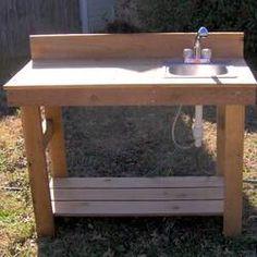 Potting Bench With Sink, Potting Tables, Garden Hose, Garden Tools, Garden Ideas, Garden Compost, Garden Arbor, Backyard Ideas, Fish Cleaning Table