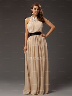 Elegant Sheath Round Neckline Bead Embellished Champagne Chiffon Prom/Evening Dress