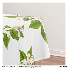 Shop Tropical Hibiscus in White Tablecloth created by randysgrandma. White Tablecloth, White Hibiscus, Sophisticated Wedding, Pretty Green, The Perfect Touch, Tablecloths, Table Linens, White Flowers, Color Pop