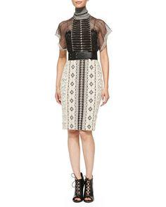 Short-Sleeve Mixed Pattern Dress by Byron Lars Beauty Mark at Neiman Marcus.