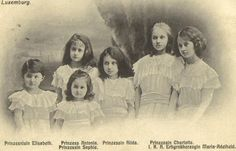 Six somber looking little princesses! Left to right: Princess Elisabeth, Princess Antonia, Princess Sophie, Princess Hilda, Princess Charlotte, and Princess Marie-Adelheid.