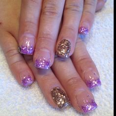 Purple & gold glitter Gel nails