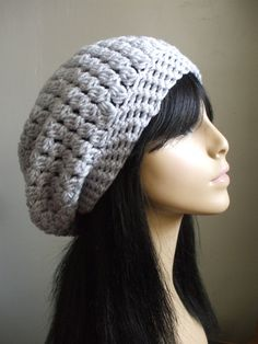 So Pretty Crochet Slouchy Hat Beret Tam Women Men Slouchy Hat Awesom Color Light Silver Gray Ready to Ship Great Gift Idea. $16.00, via Etsy.