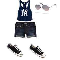 """New York Fashion"" by saara-1 on Polyvore. This cute outfit is perfect for a casual summer day. The jean shorts are from American Eagle. the crop top is form Victoria's Secret Pink, the shoes are Converse and the sunglasses are Ray Bans"