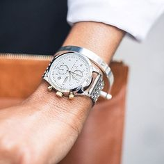 Make your wrist shine ✨ Ivory Lansen Chrono Steel Brace by @iamcherellepatterson. Shop at link in bio!