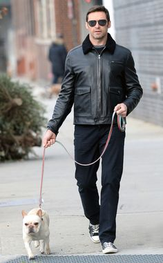 Hugh Jackman from The Big Picture: Today's Hot Pics A little cold won't stop the Broadway star from enjoying a morning walk with his pet.